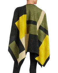 Vince Camuto - Green Petite Colorblocked Blanket Poncho - Lyst