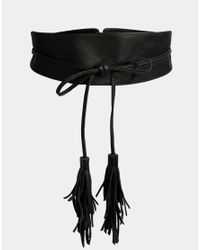 Pieces | Black Leather Tassle Tie Waist Belt. | Lyst