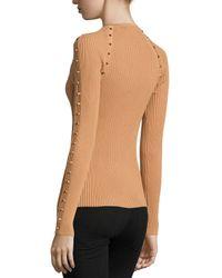 Michael Kors - Brown Long-sleeve Studded Top - Lyst