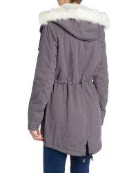 Bellfield - Gray Parka With Detachable Faux Fur Hood - Lyst