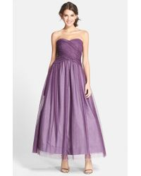 Monique Lhuillier Bridesmaids | Purple Tulle Tea Length Dress | Lyst