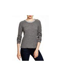 Aqua | Gray Cashmere Cashmere Ottoman Stripe Button Shoulder Sweater | Lyst