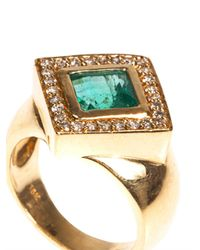 Jade Jagger - Metallic White Diamond Emerald Yellowgold Ring - Lyst