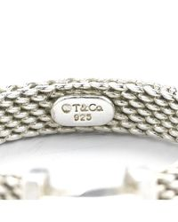 Tiffany & Co. | Metallic Pre-owned Sterling Silver Mesh and Diamond Ring | Lyst