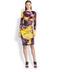 Jean Paul Gaultier   Black Palm-Print Ruched Longsleeve Dress   Lyst