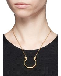 W. Britt - Metallic 'mini Hex' Onyx Stud Pendant Necklace - Lyst