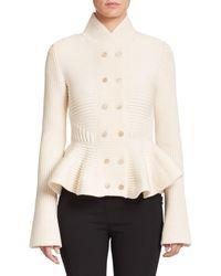 Alexander McQueen - Natural Knit Peplum Jacket - Lyst