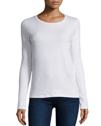 Neiman Marcus | White Long-sleeve Crewneck Top | Lyst