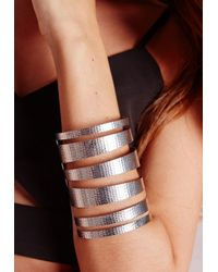 Missguided | Metallic Cut Out Cuff Silver | Lyst