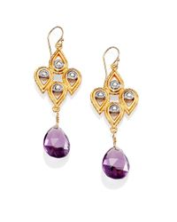 Alexis Bittar | Purple Gemstone Crystal Pear Lace Drop Earrings | Lyst