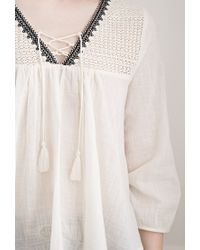 Forever 21 | Black Crochet-paneled Peasant Top | Lyst