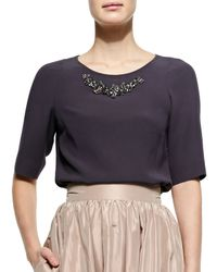 Jenny Packham - Purple Half-sleeve Bead-neck Top - Lyst