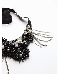 Patrizia Pepe | Black Costume Jewellery Necklace With Hand Embroidery | Lyst