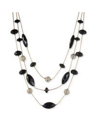 Nine West - Metallic Nine West Gold-Tone Jet Stone Crystal Three-Row Necklace - Lyst