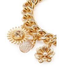 Forever 21 - Metallic Floral Charm Bracelet - Lyst