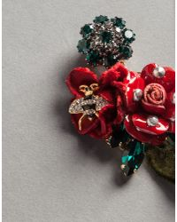 Dolce & Gabbana | Red Velvet Rose Earrings With Bee | Lyst