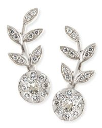 Rina Limor | Metallic 18k White Gold & Diamond Floral Climber Earrings | Lyst