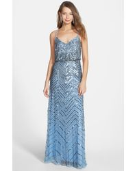 Adrianna Papell | Blue Cross Back Sequin Blouson Gown | Lyst