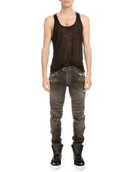 Balmain - Black Distressed Denim Moto Jeans - Lyst