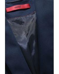 HUGO - Blue Regular-fit Cropped Blazer In Stretch Wool - Lyst