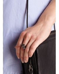 Fallon - Black Forget Me Knot Spiral Ring - Lyst