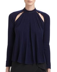 J.W.Anderson - Blue Pleatedfront Silk Cashmere Sweater - Lyst