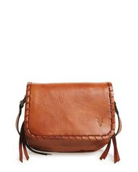 Frye - Brown Stitched Leather Cross-Body Bag  - Lyst