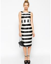 ASOS - White Candy Stripe Pencil With Bow Back - Lyst