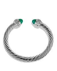 David Yurman | Cable Classics Bracelet With Green Onyx & Diamonds | Lyst