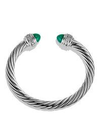 David Yurman - Cable Classics Bracelet With Green Onyx & Diamonds - Lyst