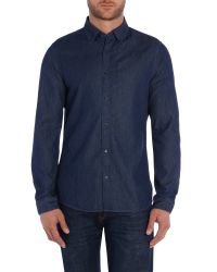 Michael Kors | Blue Slim Fit Indigo Twill Shirt for Men | Lyst