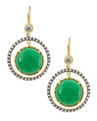 Freida Rothman | Green Double-drop Cz & Crystal Disc Earrings | Lyst