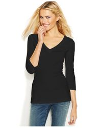INC International Concepts | Black Three-Quarter-Sleeve V-Neck Top | Lyst