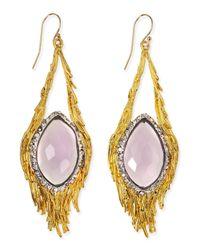 Alexis Bittar - Metallic Maldivian Pink Amethyst Feather Earrings - Lyst