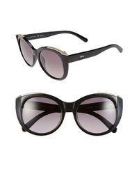 Chloé | Black 'dallia' 55mm Rounded Cat Eye Sunglasses | Lyst