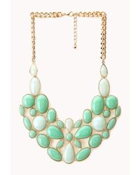 Forever 21 - Green Luxe Faux Stone Bib Necklace - Lyst