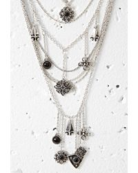 Forever 21 - Metallic Faux Stone Charm Necklace You've Been Added To The Waitlist - Lyst