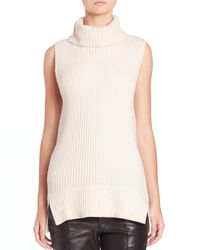 VINCE | White Directional Ribbed Turtleneck Sweater | Lyst