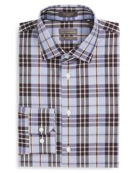 Calibrate - Blue Trim Fit Non-iron Plaid Dress Shirt for Men - Lyst