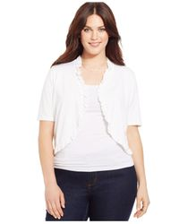 INC International Concepts | White Plus Size Short-sleeve Ruffled Bolero | Lyst