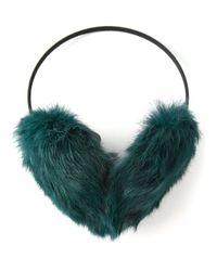Meteo by Yves Salomon - Green Rabbit Fur Ear Muffs - Lyst