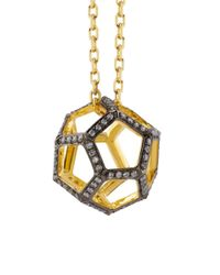 Noor Fares | Metallic Hollow Dodecahedron Pendant in Yellow Gold and White Diamonds | Lyst
