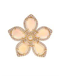 NSR Nina Runsdorf - Metallic Diamond Opal  Yellow-gold Flower Ring - Lyst