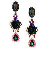 ASOS | Multicolor Rose Triple Drop Earring | Lyst