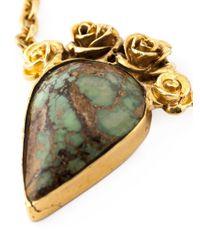 Leivan Kash - Metallic Rose Embellished Stone Necklace - Lyst