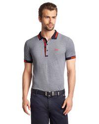 BOSS Green | Blue 'paule' | Slim Fit, Cotton Polo Shirt for Men | Lyst
