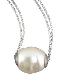 Majorica - White Baroque Pearl Pendant Necklace - Lyst