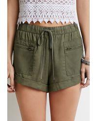Forever 21 - Green Drawstring Cuffed Shorts - Lyst