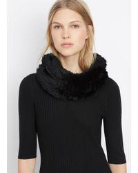 VINCE | Black Rabbit Fur Infinity Scarf | Lyst