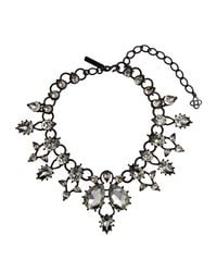 Oscar de la Renta | Metallic Black Swarovski Embellished Necklace | Lyst